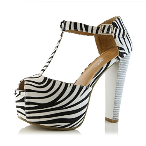 DailyShoes Women's Peep Toe Platform Sandal Pumps Open Toe Ankle Buckle T-Strap Extreme Evening Party Dress Casual Shoes, Zebra Suede, 11 B(M) (Heel Platform Open Toe Pumps)