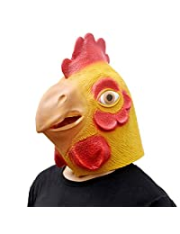 CreepyParty Deluxe Novelty Halloween Costume Party Latex Animal Head Mask Chicken