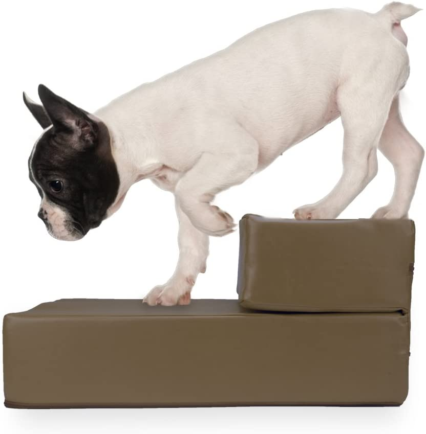 Small Breed Mobility Aid for Aging Dogs Weebo Pets Smooth Steps Folding Leather Pet Stairs