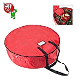 Elf Stor 83-DT5156 Deluxe Holiday Christmas Storage Bag Wreaths-Bonus Interior Compartment, 36-inch, Red