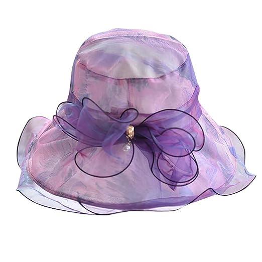 82c3b5325 YEZIJIN Women Ladies Summer Wide Brim Straw Hat Floppy Derby Beach ...