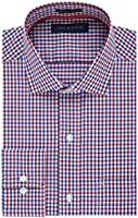 Tommy Hilfiger Men's Regular Fit Non Iron Tattersall, Rouge, 16/34-35