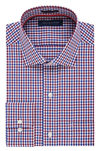 Tommy Hilfiger Men's Non Iron Regular Fit Check Spread Collar Dress Shirt, Rouge, 17.5