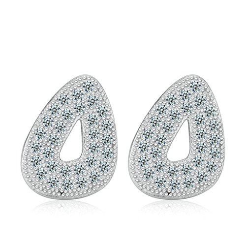 AMDXD Jewelry Silver Plated Women Stud Earrings Simple Design Hollow Silver