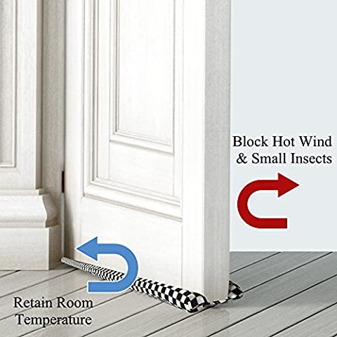 Handmade Under Door Draft Stopper Black and White Lattice Pattern (Double Sided Breeze Blocker)