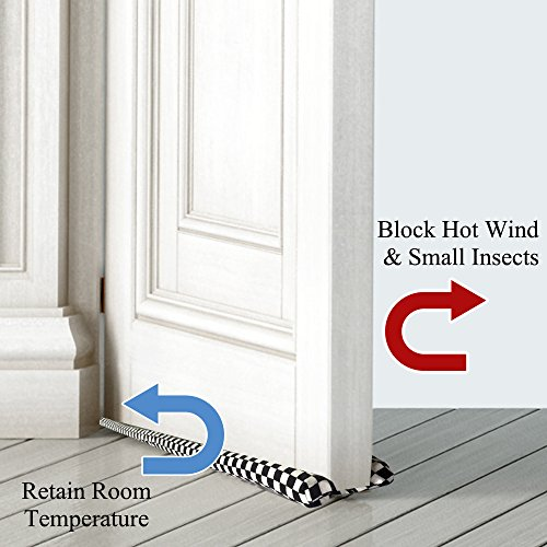 Handmade Under Door Draft Stopper Black and White Lattice Pattern - Door Draft Protectors