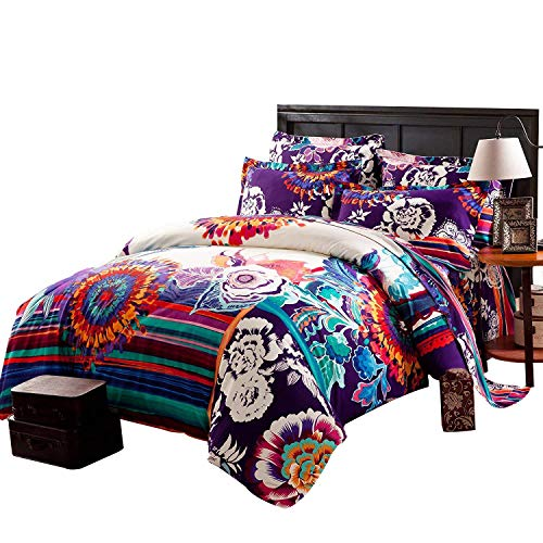 - FADFAY College Bedding Ethnic Style Boho Duvet Cover with Flat Sheet Twin XL Bedding Sets Morocco Bedding Auspicious Clouds 100% Cotton with Short Plush Super Soft Twin XL 4Pcs for College Room