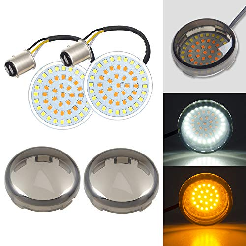 Amazicha 2 Bullet Front LED Turn Signals Lights 1157 SMD Panel Smoke Lens Cover Compatible for Harley Dyna Street Glide Road King