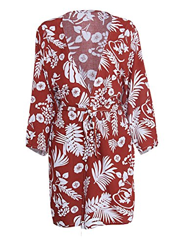 shermie Women's Floral Leaf Print Kimono Cardigan Cover up Swimwear with Belt Rust Red by shermie (Image #4)