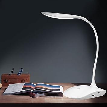 Lámpara de escritorio con sensor LED, de Gezichta, USB, sin cable, luz de lectura para mesas, recargable (White)