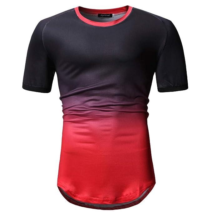 ESAILQ Hombre Camiseta de Manga Corta Estampada Cuello Redondo Print Estilo Casual: Amazon.es: Ropa y accesorios
