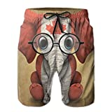 Men's Baby Elephant Glasses Canadian Flag Fashion Beach Pant Tide Stamp Shorts Large
