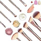 #8: DAJIABUY Makeup Brushes Premium Makeup Brush Set Synthetic Kabuki Foundation Face Powder Blush Eyeshadow Brushes Makeup Brush Kit with Blender Sponge and Brush Cleaner (10+2pcs,Rose Golden)