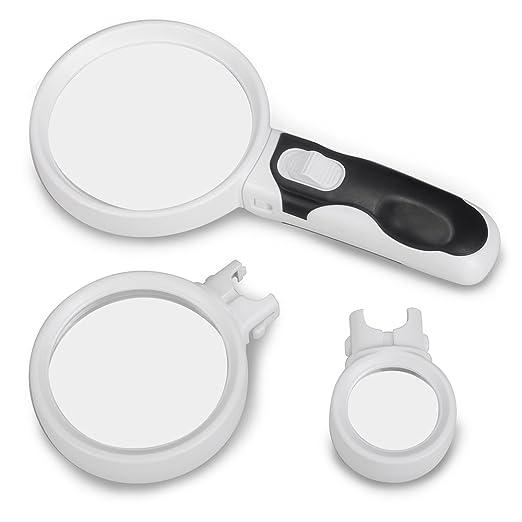 4 opinioni per Lanktoo 2-Lente d'ingrandimento con luce LED, con 3 lenti intercambiabili, 5 x