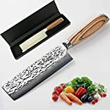 Chef Knife 6.5 inch Nakiri Knife Quality Damascus Steel Kitchen Knives, Razor Sharp Slicing Comfortable Handle Vegetable Cleaver with Gift Box by Xing YI(The Patterns of Natural Wood are Unique)