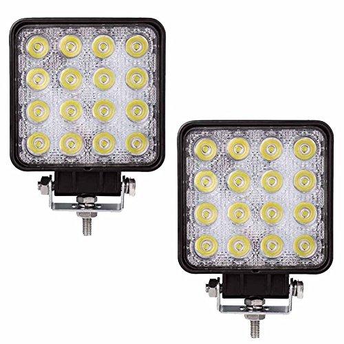 Semoic 2 pcs 48W 6000k LED Spot Beam Square Work Lights Lamp Tractor SUV Truck 4WD 12V 24V (48 Watt Led Tractor Lights)