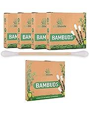 EcoShoots 400 of 1000 bamboe-wattenstaafjes | 4x100 biologische Bambuds | Gratis verpakking van gerecycled plastic | GOTS-gecertificeerde oordopjes van biologisch katoen | Biologisch afbreekbare wattenstaafjes en composteerbare wattenstaafjes