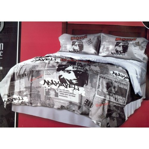 Official License 2pac/tupac Grey black red Comforter King...