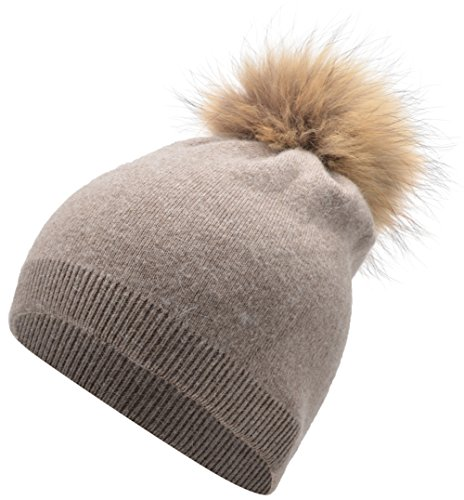 Women's GrilWomen's Grils Winter Pure Slouch Cashmere Removable Real Large Raccoon Fur Pom Pom Knit Beanie Hat (khaki)