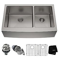 Kitchen Kraus KHF203-33 Standart PRO Kitchen Stainless Steel Sink, 32.88″, 33 Inch Round Apron 60/40 Double Bowl modern kitchen sinks