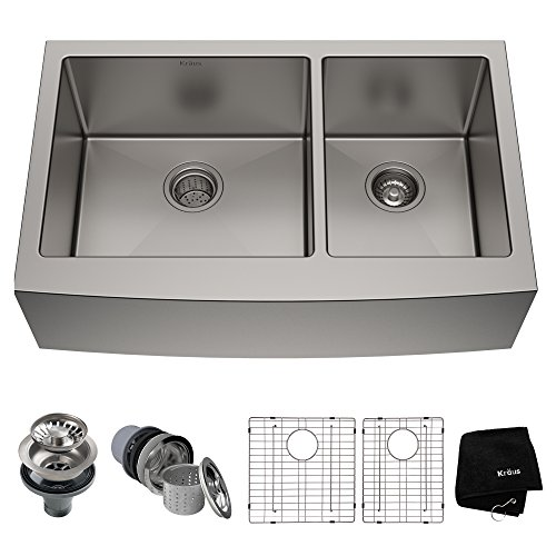 (Kraus KHF203-36 36 inch Farmhouse Apron 60/40 Double Bowl 16 gauge Stainless Steel Kitchen Sink)