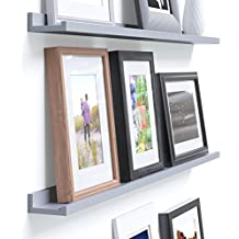 Wallniture Denver Modern Design Floating Picture Display Ledge Wall Mounted Shelf 46 Inches Gray