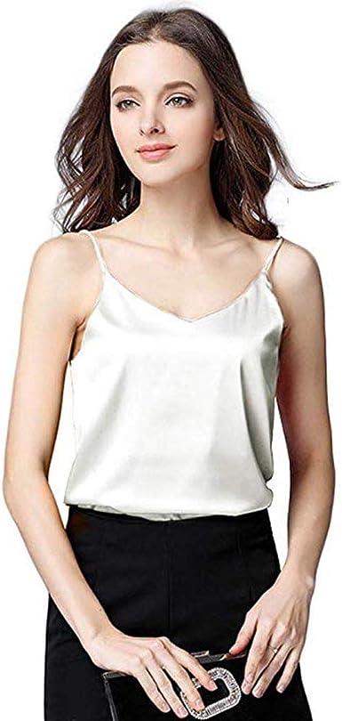 LUNULE Camisa sin Mangas de Seda Mujer Sexy básicas Camisetas sin Mangas Suaves Camisola Chalecos de Verano Camiseta de Tirantes Blusa Tops para Mujer: Amazon.es: Ropa y accesorios