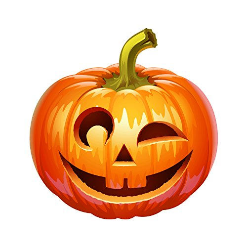 Creepy Jack O Lantern Winking Face - 5 Inch REFLECTIVE Full Color Decal for Macbook, Laptop or other device -