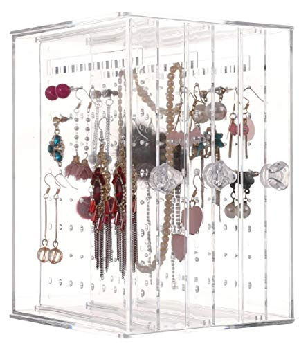 Sooyee Dustproof Jewelry Screen Hanger Organizer 216 Holes Earrings Holder 3 Drawers Necklace Chains Acrylic Display Stands Decor Gifts Girls,Clear 5.27X5.43X7.2 -