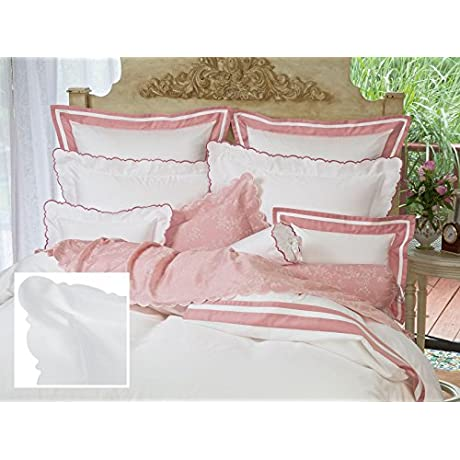 Scallopino Sheet Sets Queen 1 Flat 1 Fitted 2 Std Shams White