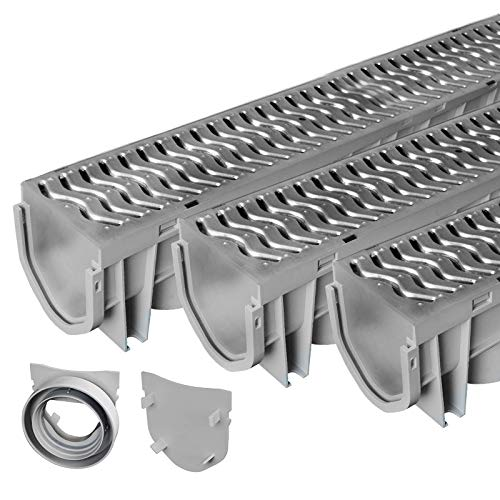 Source 1 Drainage Trench & Driveway Channel Drain with Galvanized Steel Grate - 3 Pack (Best Rated Gutter Covers)