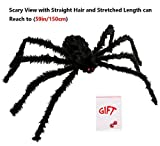 LEShop Spider Decorations,Halloween Spiders,Outdoor Halloween Spider, Hairy Poseable Spider,Scary Spider for Halloween Decorations (59 in)