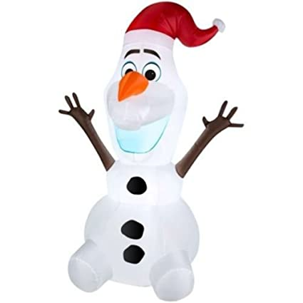 Gemmy Airblown Inflatable Olaf The Snowman Wearing Santa Hat Christmas Yard Decorations 3 5