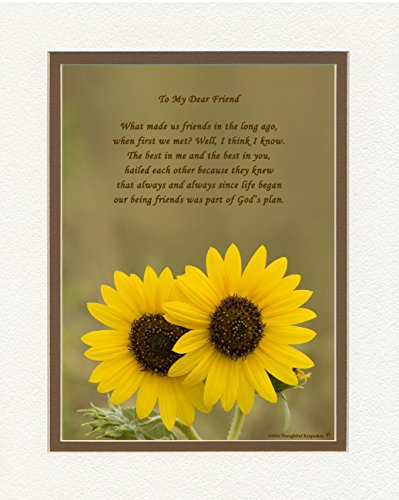Special Friend Gift. Sunflowers Photo with ''What Made Us Friends'' Poem, 8x10 Double Matted. Great Friendship Gift for Birthday or Christmas.. by Friend Gifts