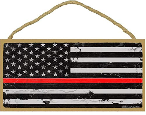 Dozili The Thin Red Line Fireman Firefighter Distressed American Flag Wooden Hanging Sign Beautiful Plaque Sign 6