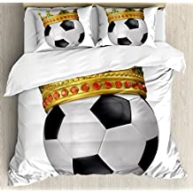 Ambesonne King Duvet Cover Set Queen Size, Football Soccer Sports Championship Inspired Ball Crown with Ornaments Image Print, Decorative 3 Piece Bedding Set with 2 Pillow Shams, Multicolor