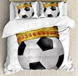 King Duvet Cover Set by Ambesonne, Football Soccer Championship Inspired Ball Crown with Ornaments Image Print, 3 Piece Bedding Set with Pillow Shams, Queen / Full, Black White and Gold