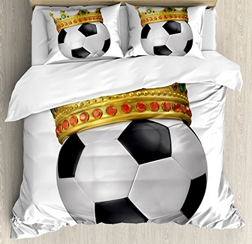 King Duvet Cover Set by Ambesonne, Football Soccer Championship Inspired Ball Crown with Ornaments Image Print, 3 Piece Bedding Set with Pillow Shams, Queen / Full, Black White and Gold by Ambesonne