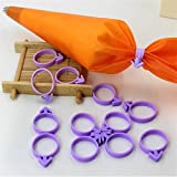 Silicone Pastry Bag+12 Icing Bag Ties Ring,Cake Decorating Tools For Cupcake Fondant Cookie Baking Tool Circle Tie