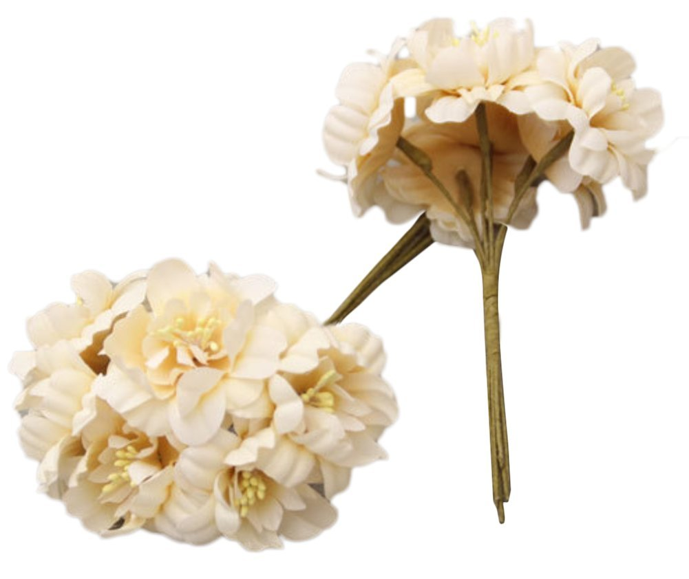 Freedi Bunch of 6人工花ウェディングFakeウェディングシルク菊のブーケリビングルームテーブル庭飾り 12.5*4.5cm ベージュ OVUXRR32X3JU00V015E6WBQU B07DNVH5LM ベージュ