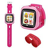 AOLEE Kids Smart Watch Games Timer Alarm (NEW)Clock Camera Pedometer Touchscreen-Bonus Wristband(Pink)
