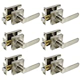 Passage Door Lever Handle Interior Non-locking Lever Set for hallway doors or closets with Satin Nickel Finish, Reversible for Right & Left side,6 Pack