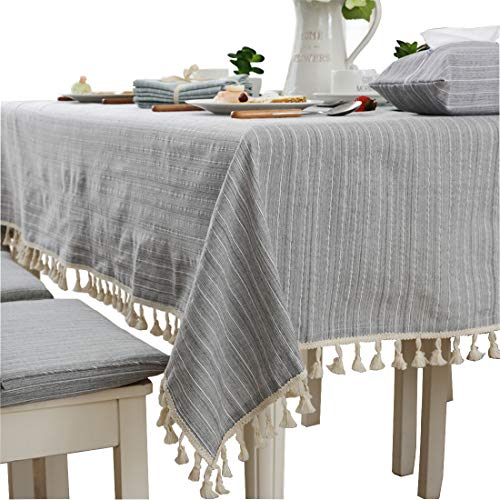 Modern simple cotton grey striped tablecloth party dining room wedding tablecloths rectangular ()