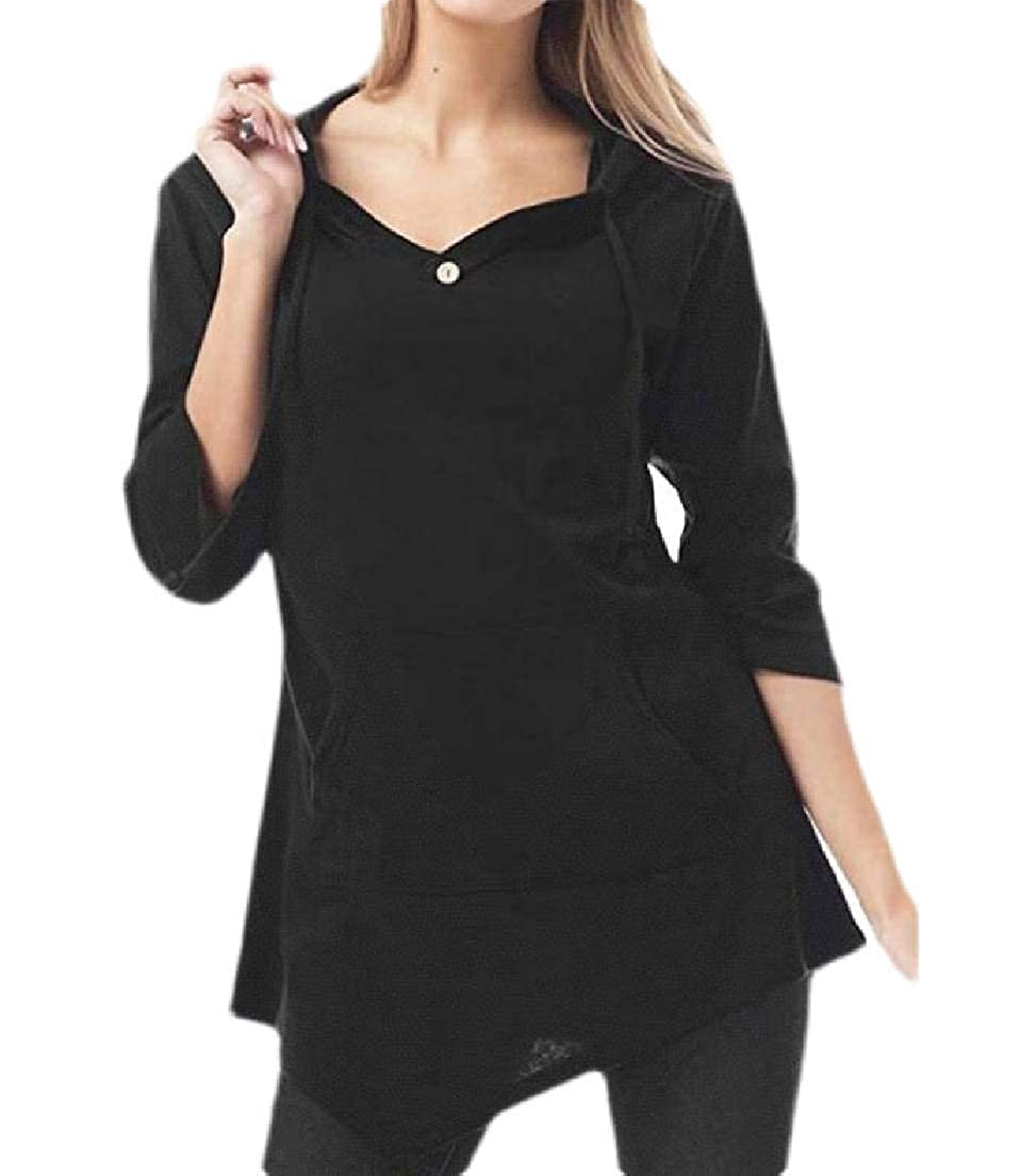Frieed Women V-Neck Tunic Drawstring Sweatshirts Hoodies Tops with Pockets