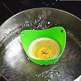 Durable Silicone Egg Poacher Cooker Boiler Cookware Poached Baking Cup Tool Green