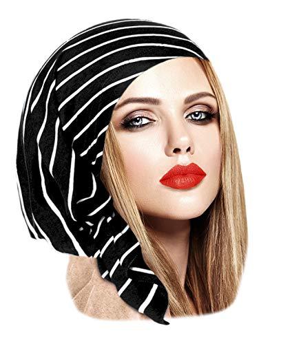 Black Cotton Tichel Pre-Tied Head-Scarf Chemo Friendly in Over 30 Colors! (Black White Stripe - Short)