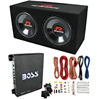 Renegade RXV1202 12 1200W Dual Car Subwoofers + Box + 1100W Mono Amp + Amp Kit