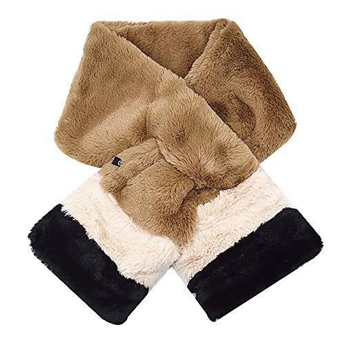 Rebecca Women Faux Fur Winter Warm Scarf Mixing Color Neck Wrap Cross Tie Neck Collar Neckerchief Christmas Gifts (Khaki)