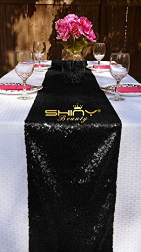 12x72 Black Sequin Table Runner