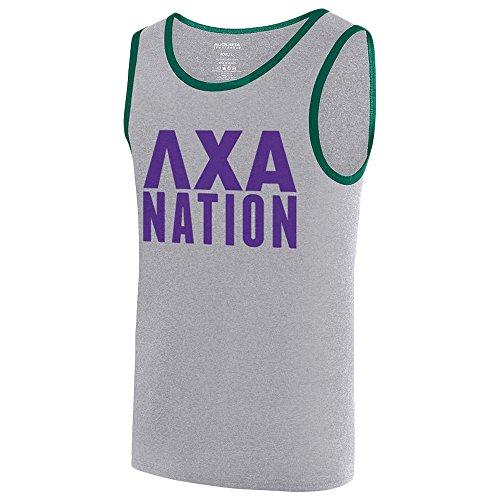 - Lambda Chi Alpha Fraternity Nation Ringer Tank Small Athletic Heather/Dark Green